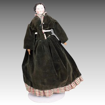 "Beautiful Antique 15"" Flat-Top China Shoulder Head Doll, Ca. 1870"