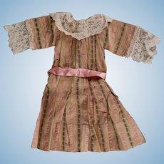 """Antique Dainty Striped Silk & Cotton Dress for French, German Bisque Dolls around 22"""""""
