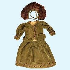 Stunning Antique Vintage Velvet 4-Piece Outfit for French, German Bisque Dolls