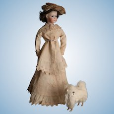 """So """"Out of Africa""""... Antique Hand-Embroidered Linen Outfit for 20"""" Fashion Dolls"""