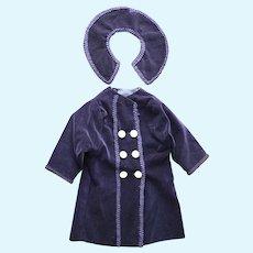 "Antique Style Blue Velvet Coat & Collar for 24""-26"" French & German Bisque Dolls"