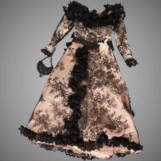"Elegant Peach Satin & Black Lace Dress, Jewelled Purse f/ 21"" French Fashion Dolls"