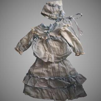 Antique Blue Cotton Gauze Dress & Bonnet for Bisque Dolls