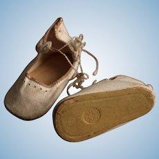 """Antique White Leather Bru Jumeau Doll Shoes, Size 8, stamped """"SFBJ Paris."""""""