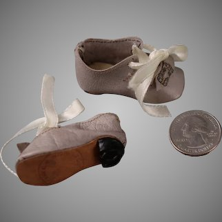 Antique Silver Leather Ankle Tie Doll Shoes w/Buckles and Stamped Soles