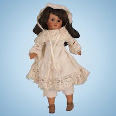 "Adorable & Rare 14"" Antique Creole Brown Bisque Socket Head Doll, Unis France"