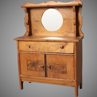 Doll's Antique Wooden Buffet with Mirror & Pyrography Carvings on Front