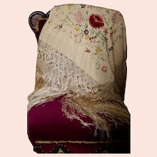 Exquisite Antique Victorian Silk Floral Shawl, Color & White, Hand-Embroidered