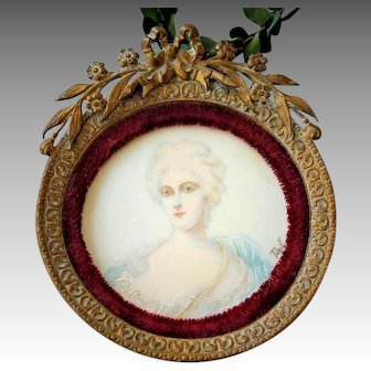 19th C. French Portrait Miniature of Madame Pompadour Hand-Painted by Tegil