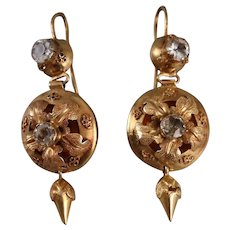 Antique Victorian 14k Gold Paste Dangle Earrings