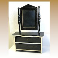 Antique doll miniature Kestner Boule black Gilt stenciled small Dresser