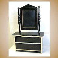 Antique doll miniature Kestner Boule black Gilt stenciled small Dresser