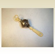 Antique small doll baby rattle bone handle