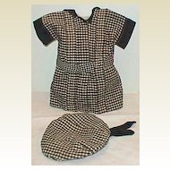 Antique doll dress Black plaid pleated with hat