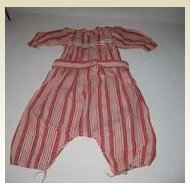 Antique cotton Red & white baby doll jumper suit