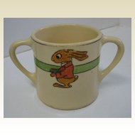 Roseville Juvenile child's TWO-HANDLED mug with the dressed RABBIT
