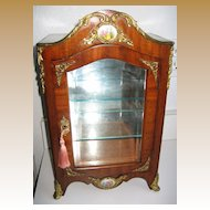 Antique miniature French Mahogany vitrine cabinet Austrian porcelain enamel Panels
