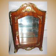 Antique miniature French Mahogany vitrine cabinet Austrian porcelain enamel Panels