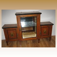 Antique English Edwardian Toile decorative painted glass display cabinet