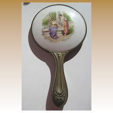 Antique Victorian decorative Victorian Ladies porcelain bronze hand mirror