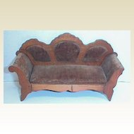 German Schneegas antique doll house miniature couch sofa