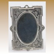 German Antique doll house very large tin pewter decorative mirror doll vignette