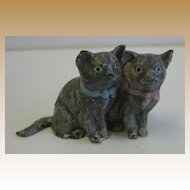 German Antique miniature pair metal cats kittens