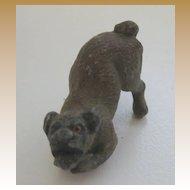 Antique Austrian Vienna Bronze miniature crouching brown dog