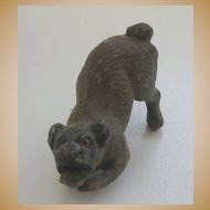 Antique Austrian Vienna Bronze miniature crouching brown dog