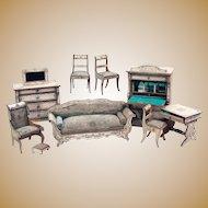 German Rare White Boulle antique miniature Kestner doll house Furniture small doll Mignonette