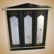 Antique doll house furniture Kestner German Boule mirrored armoire small doll Mignonette