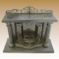 Antique doll house miniature rare heavy tin French fireplace Au Nain Blue Paris