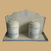 Antique German Marklin kitchen shop miniature blue & white tin enamel canisters rack
