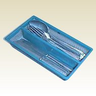 Blue German antique miniature tin  Kitchen Silverware & tray