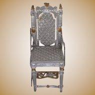 Antique German dollhouse miniature soft metal highchair youth chair