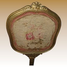 Antique French tapestry wood screen