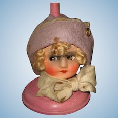Antique German paper mache Doll Head Hat stand Color Choice