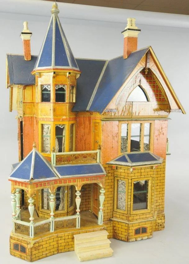 Antique Gottschalk large exceptional Blue Roof Doll House ...