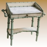 Antique French Faux Bamboo Maplewood doll toilette marble top vanity