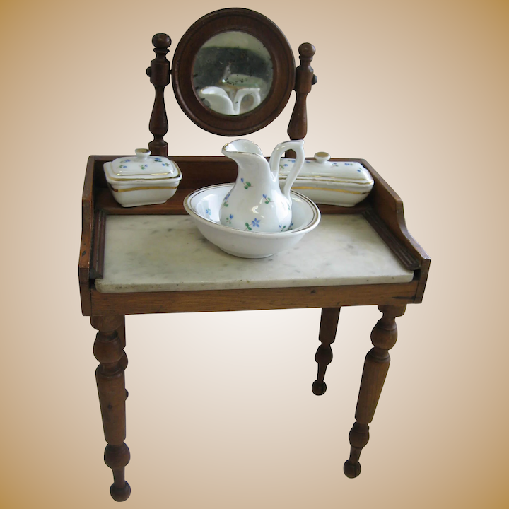 brand new 7f8a3 46a90 Antique French Doll Dressing Table Marble Top and Mirror porcelain set