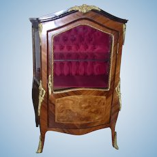 Antique French miniature glass & wood vitrine display cabinet large doll size