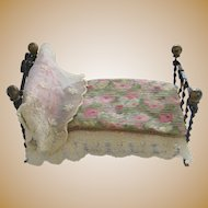 Antique English doll house miniature small doll wrought metal decorative folding Bed