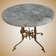 Antique German Miniature Doll House Gilt painted pewter Marble table with gilt base