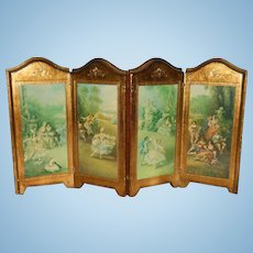 Antique Florentine Italian miniature 4 part folding wood doll screen