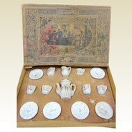 Very small miniature German white & gold antique doll tea service original box