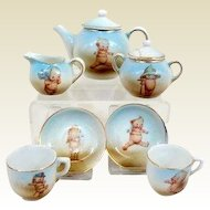 Antique German Kewpie small size tea set