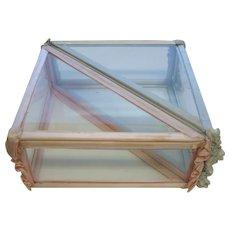 Antique double pink blue unusual glass Case handkerchief box