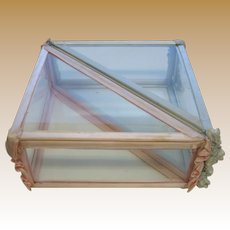 Antique double pink blue unusual glass case pair handkerchief box