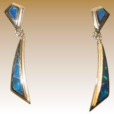 Black Opal 14K yellow gold dangle pierced earrings