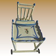 Antique German blue white wood small miniature doll folding high chair